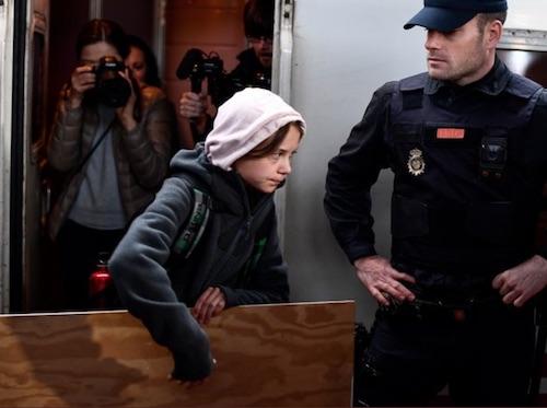 Thunberg arrives Madrid COP 25 bossito:Twitter