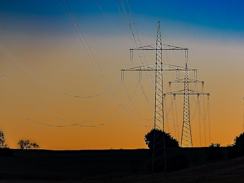 power pylons sunrise grid